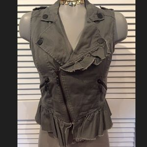 WILLIAM RAST Vest Asymmetrical Zipper Ruffle Cute